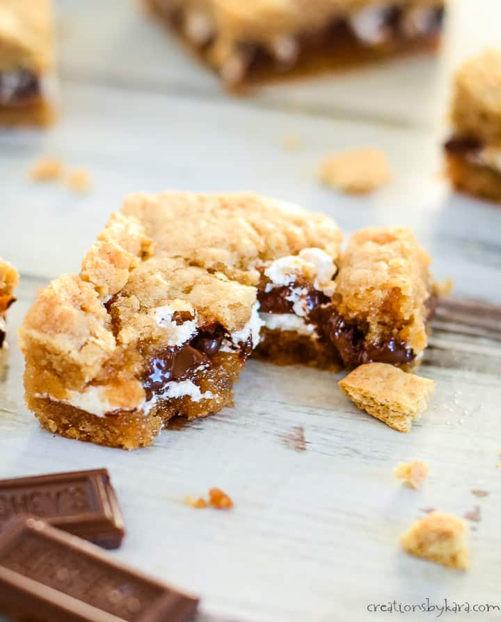 warm smores bar with melted chocolate