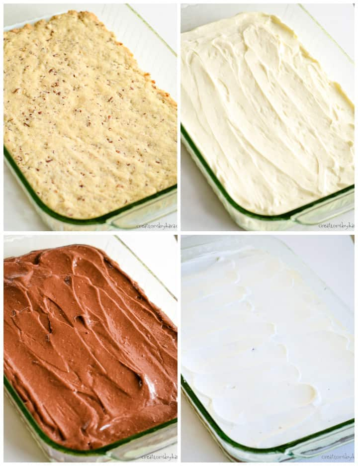 instruction photos for making chocolate 4 layer dessert