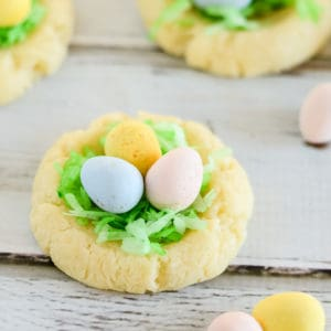 easter nest cookies with cadbury eggs