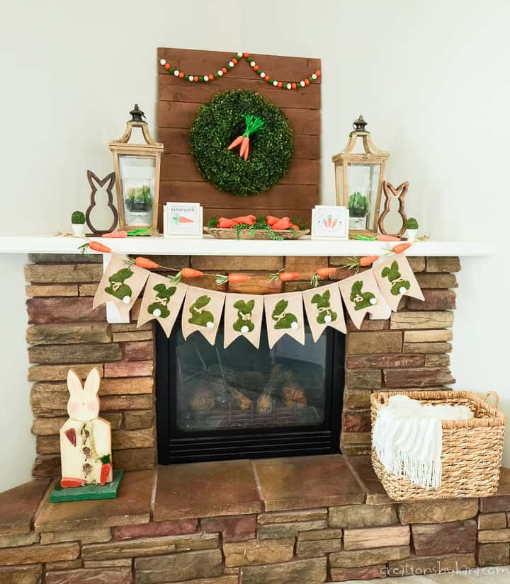easter mantel decor with carrots