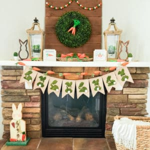 easter mantel decor in orange and green