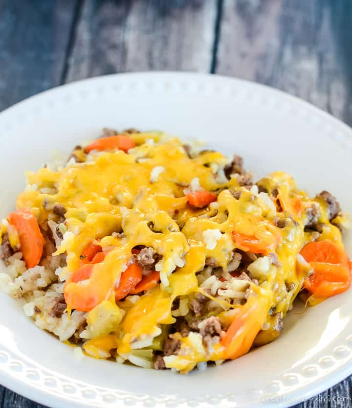 overhead shot of hamburger rice casserole on a white plate