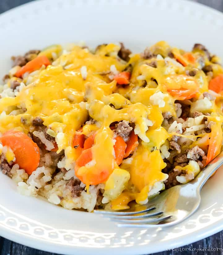 plate of hamburger rice casserole
