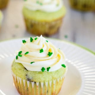 pistachio st patrick's day cupcake with green sprinkles