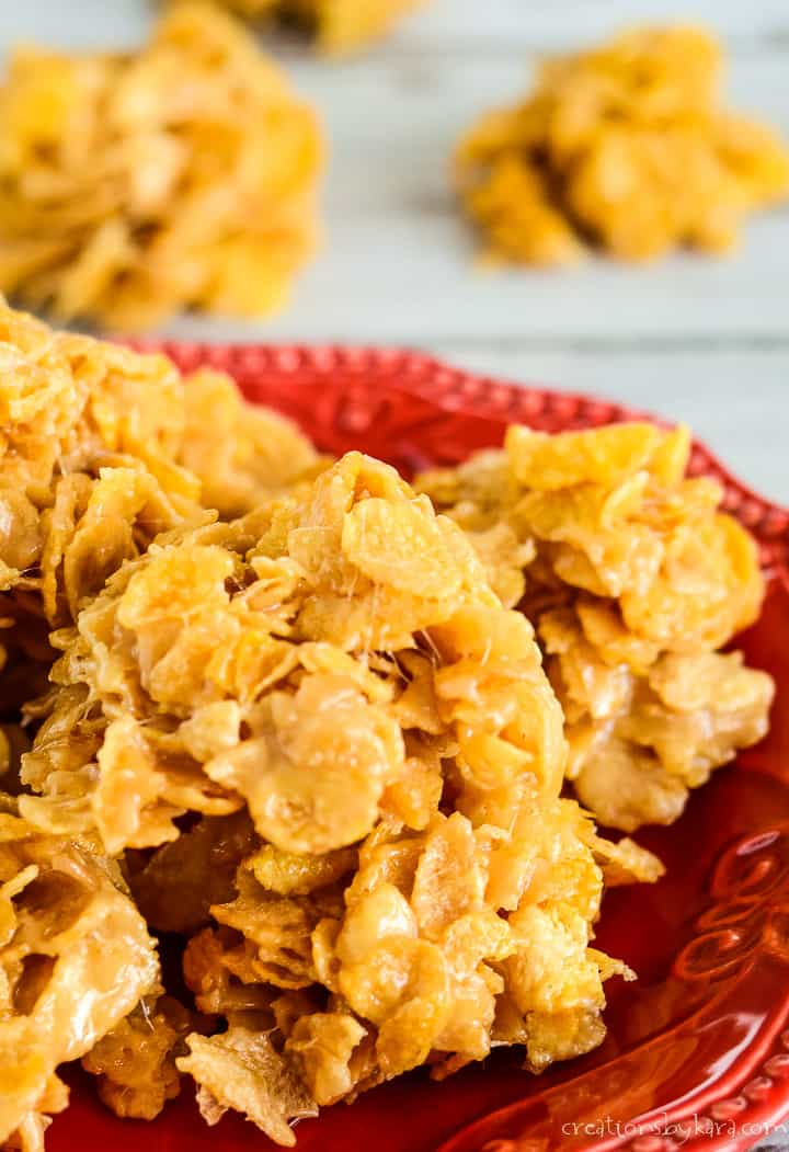 no bake cornflake cookies on a red plate