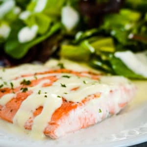 pan seared salmon on a plate drizzled with creamy sauce