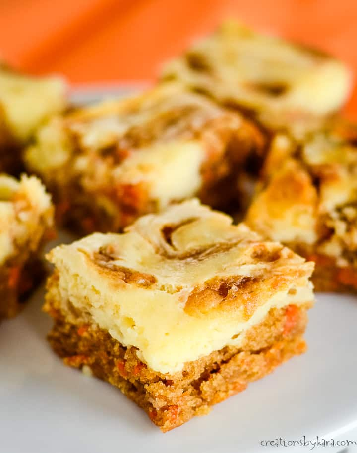 close up of carrot bars with cream cheese