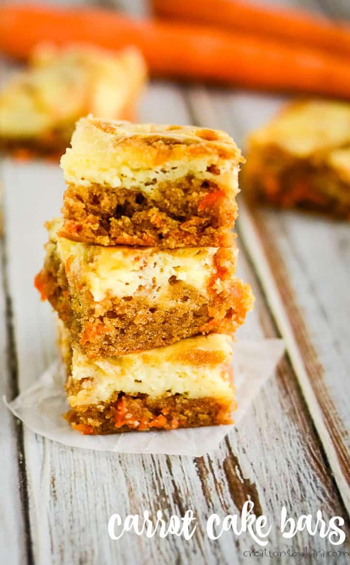 cream cheese carrot cake bars title photo