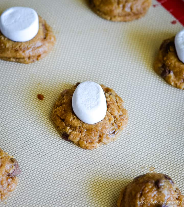 smores cookie recipe - adding a marshmallow to the top of a s'more cookie