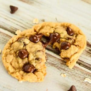 warm whole wheat oatmeal chocolate chip cookie