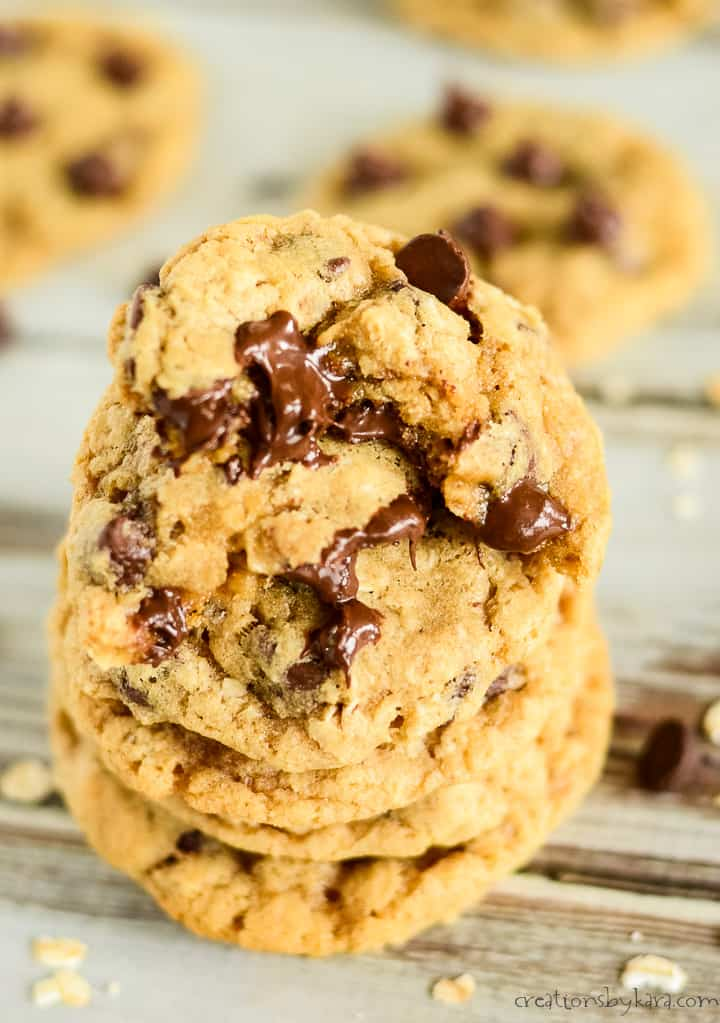 stack of warm whole wheat oatmeal chocolate chip cookies