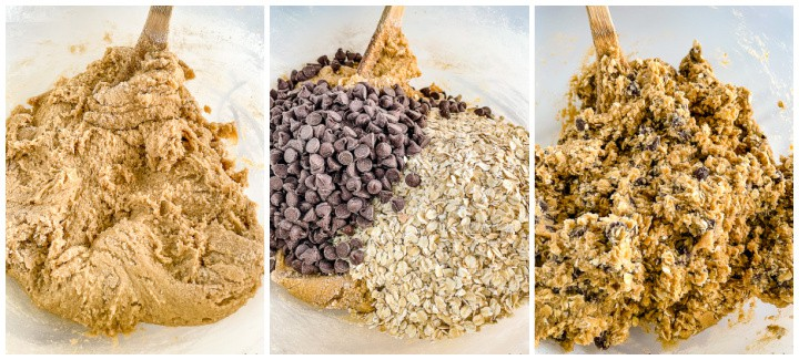whole wheat chocolate chip cookie dough instructional photos