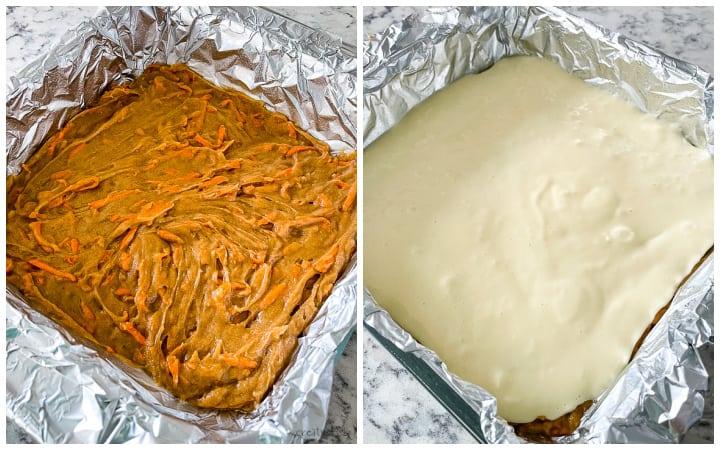 making carrot cake cream cheese bars