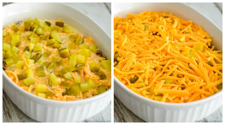 pickles and cheese on low carb cheeseburger casserole