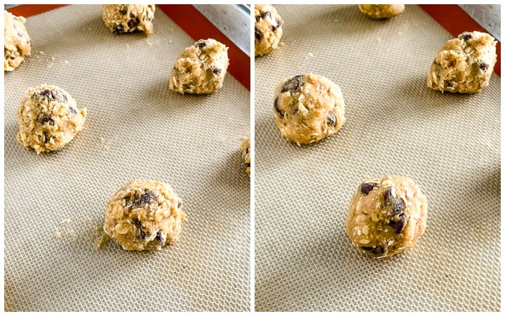 balls of cookie dough on a silicone lined baking sheet
