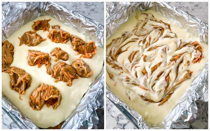 how to swirl cream cheese layer for carrot cheesecake bars