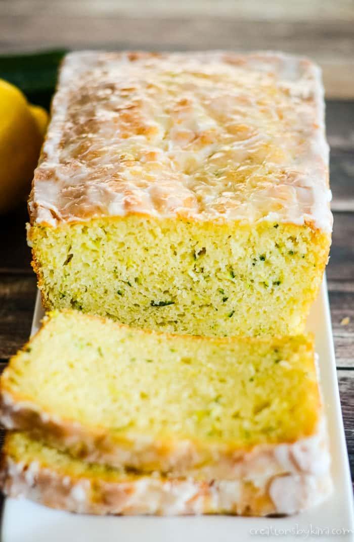 glazed zucchini lemon bread sliced