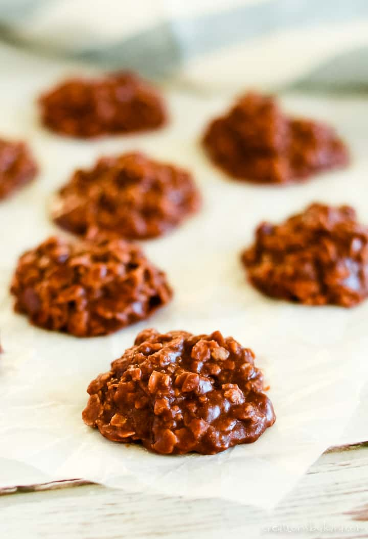 no bake chocolate peanut butter oatmeal cookies on waxed paper