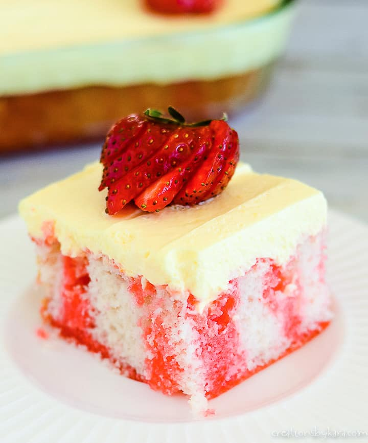 strawberry poke cake with pudding frosting