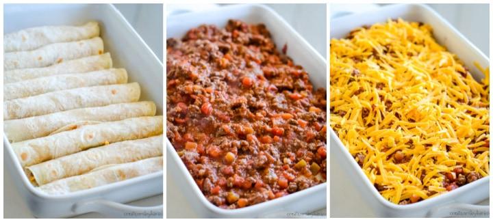 how to assemble taco lasagna (mexican lasagna)