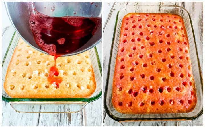 how to make a jello cake instructions collage