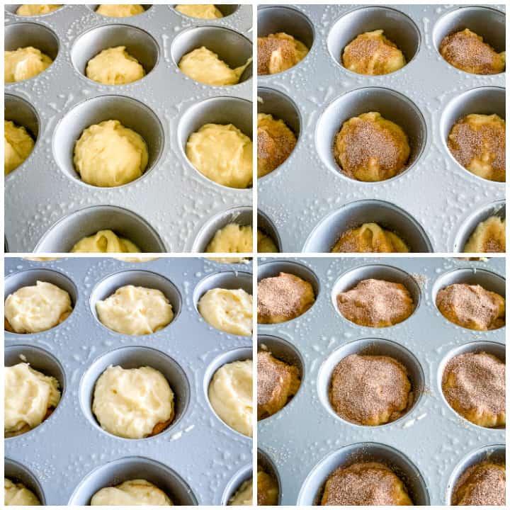 layering cinnamon sugar muffins in muffin pans