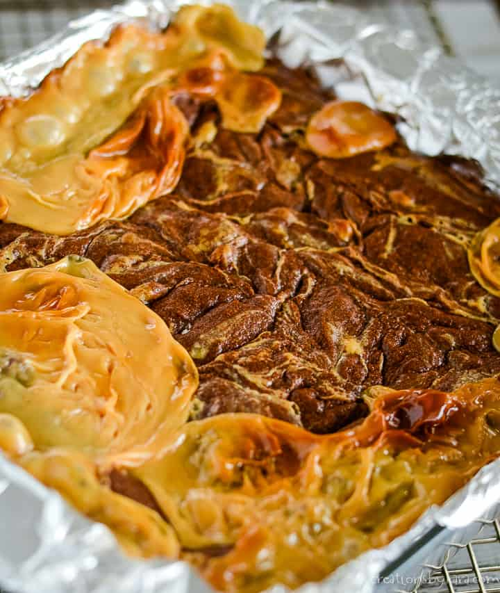 baked pan of brownies with dulce de leche