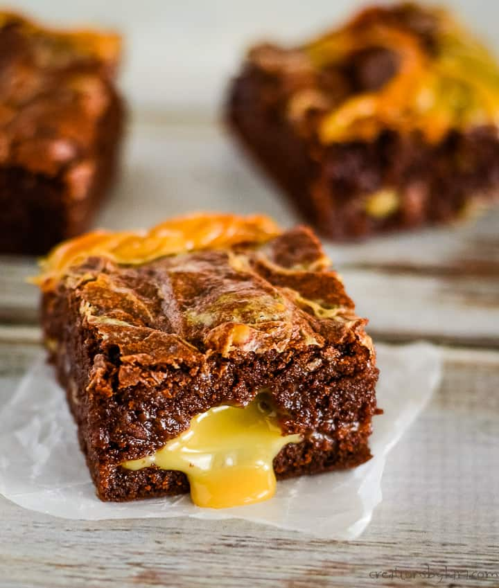 homemade brownie with dulce de leche on a piece of waxed paper
