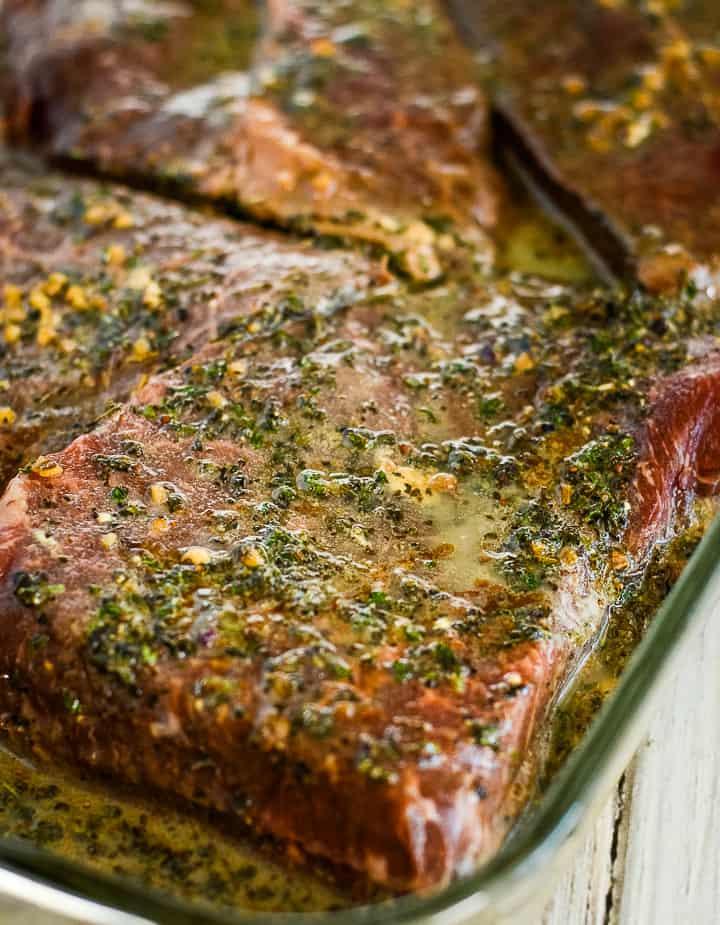 pan of steak covered in keto steak marinade