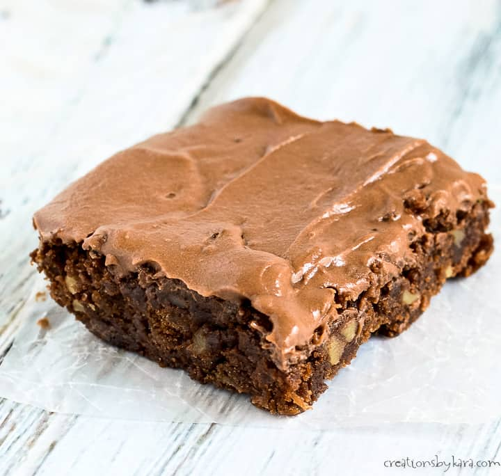 zucchini brownies with nuts and chocolate frosting