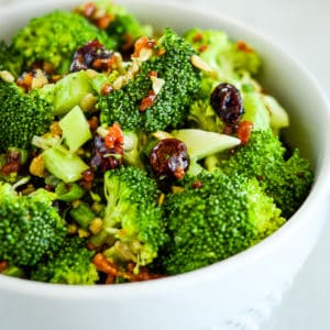 classic broccoli salad with bacon and craisins
