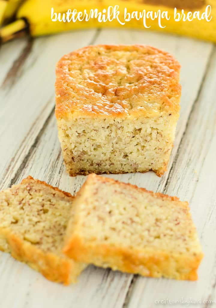 loaf of buttermilk banana bread with slices of bread in front