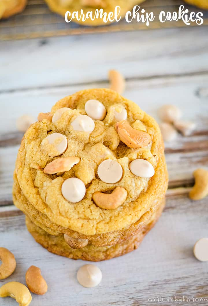 caramel chip cookies with cashews