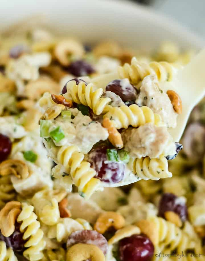 close up of spoonful of chicken pasta salad