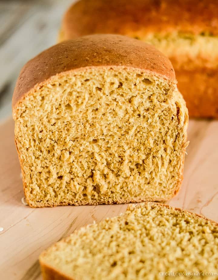 sliced homemade oat bread