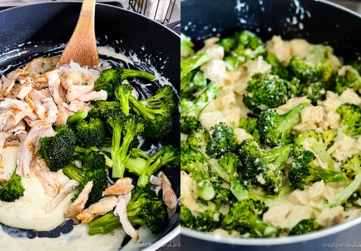instructions for making chicken broccoli keto casserole in a skillet