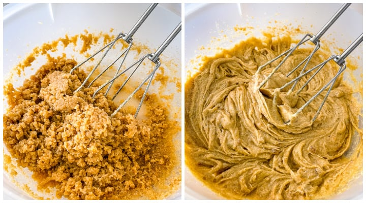 creaming wet ingredients for cookies with browned butter