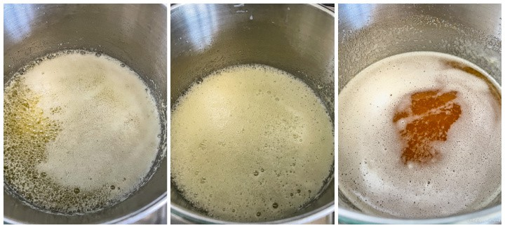 instructions for browning butter in a saucepan