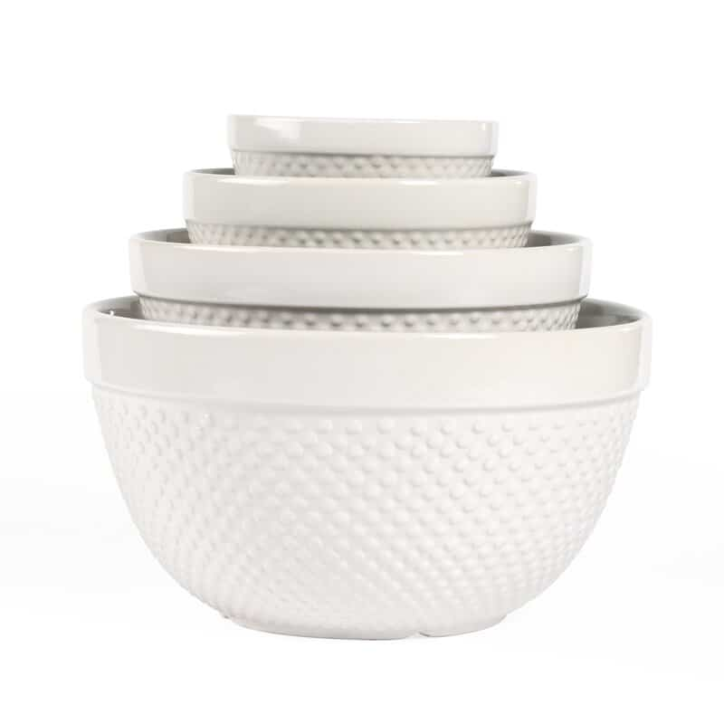 Tabletops Gallery Hobnail 4 Piece Stoneware Mixing Bowl Set