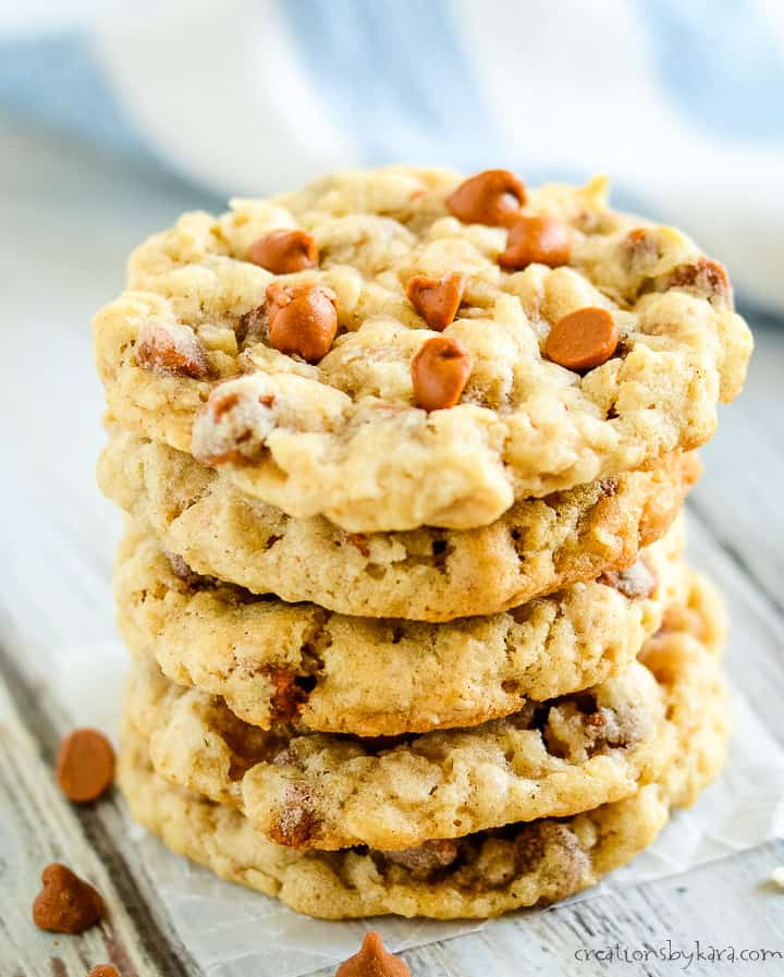 stack of oatmeal cookies with cinnamon chips