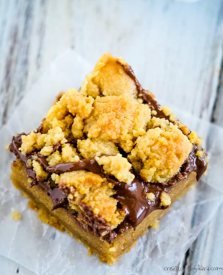 close up of peanut butter and nutella bars