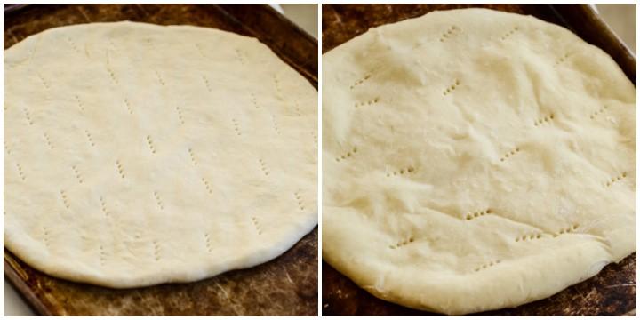 homemade pizza crust on a baking sheet
