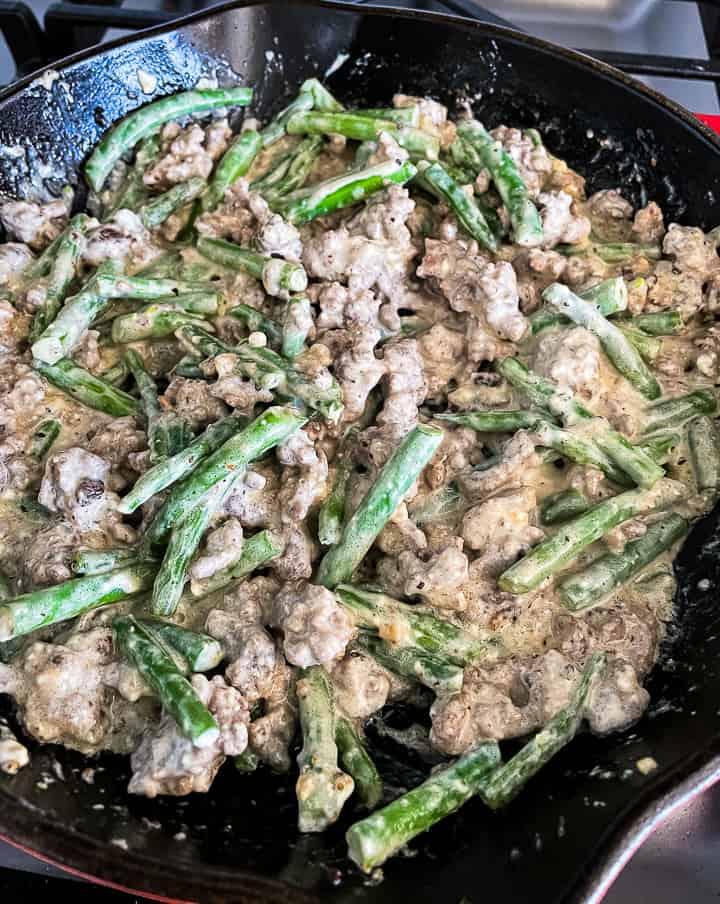 ground beef green bean casserole in a skillet